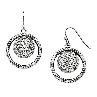 No Metal Stamp Stainless Steel White Synthetic Cubic Zirconia Twist Pattern Halo Dangle Earrings
