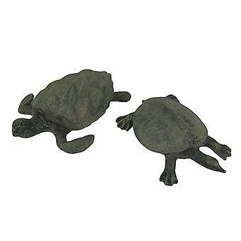 مجموعة تمثال 2 قطعة هوكسبيل والسلاحف البحرية شل لينة