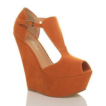 Ajvani womens high wedge heel t-bar peep toe shoes platform sandals