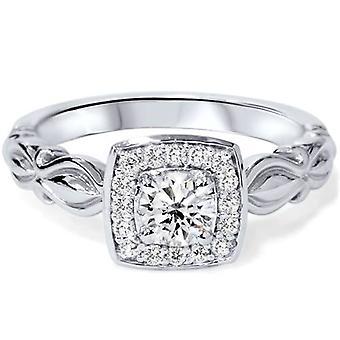 1 / 2ct Винтаж подушки Halo алмаз обручальное кольцо 14K Белое золото