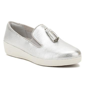 FitFlop Womens Silver / Urban White Tassel Superskate Leather Loafers