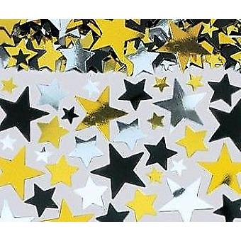 SALE - Bumper Bag of Assorted Size Star Sequins - Black, Silver and Gold