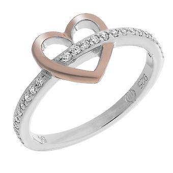 Orphelia Silver 925 Ring Heart And Rosegold  Zirconium   ZR-7286