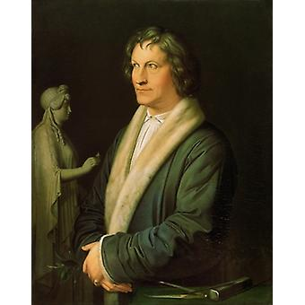 Portrait of the sculptor Bertel Thorvaldsen,.. - Tea Towel 100% Cotton - Art247