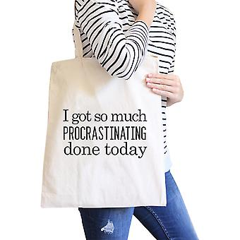 Procrastinating Done Today Natural Heavy Canvas Cotton Tote Bag