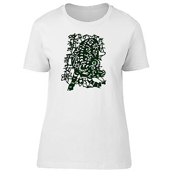 Chinese Art Floral Bull Tee Women's -Image by Shutterstock