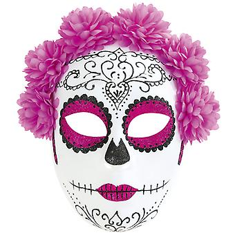 Mexican day of the dead mask pink flowers half mask