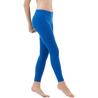 TSLA Tesla FYP41 Women es Mid-Waist Ultra-Stretch Yoga Pants-Solid Blue