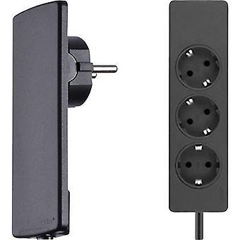 EVOline 151000156100 Socket strip (w/o switch) 3x Black PG connector