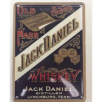 Jack Daniels oude Sour Mash metalen ansichtkaart / Mini Sign
