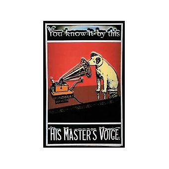 His Masters Voice Nipper ''You Know It By This'' Embossed Metal Sign 200Mm X 300Mm