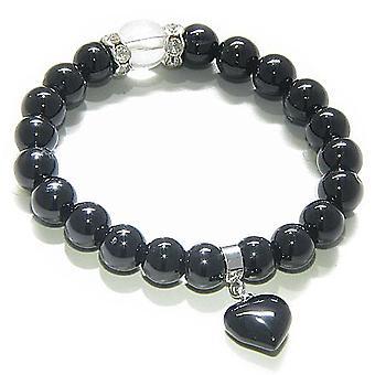 Swarovski og sort Onyx hjerte åndelige beskyttelse armbånd