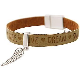 Gemshine - Damen - Armband - Schutz Engel - Flügel - 925 Silber - WISHES - Braun Sand - Magnetverschluss