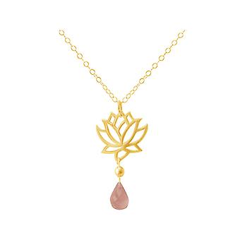 GEMSHINE ladies necklace made of high-quality gold-plated 925 Silver with YOGA Lotus Flower and Rose Quartz of quality. Made in Madrid, Spain. In the elegant jewelry with gift box