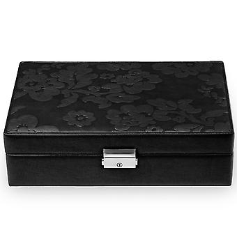 Jewelry box jewelry box black Sacher leather suede Office with mirror and Castle