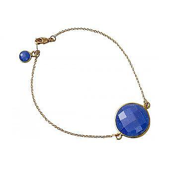 Armband Armschmuck Armreifen – Vergoldet – Saphir – Blau – Facettiert – 19 cm