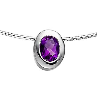 Gemstone pendant oval 925 sterling silver rhodium plated 1 Amethyst violet purple