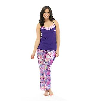 Ladies Wolf & Harte Satin Floral Print Strappy Top Summer Pyjama Lounge Wear
