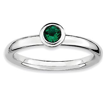 Lunetta di argento lucidato placcato in rodio impilabile espressioni basso 4mm Round CR. smeraldo anello - anello di dimensioni: 5-10