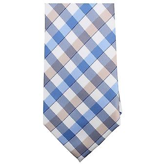 Knightsbridge Neckwear Light Checked Tie - Brown/Blue