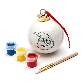 TRIXES DIY Santa Bauble with 3PC Paint Set and Brush Hanging Xmas Decoration