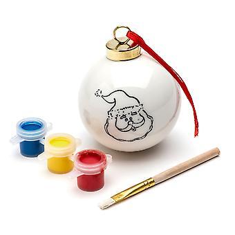 TRIXES DIY Santa julgranskula med 3PC färg och pensel hängande Xmas dekoration