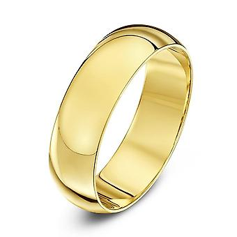 Star Wedding Rings 9ct Yellow Gold Extra Heavy D Shape 6mm Wedding Ring