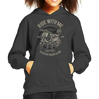 Ride With Me Scooter Club Kid's Hooded Sweatshirt