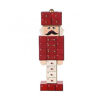 Calendrier de l'Avent Noël en bois rouge de casse-noisette