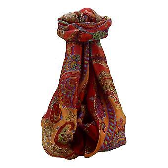 Mora seda bufanda larga tradicional Shipra escarlata por Pashmina y seda
