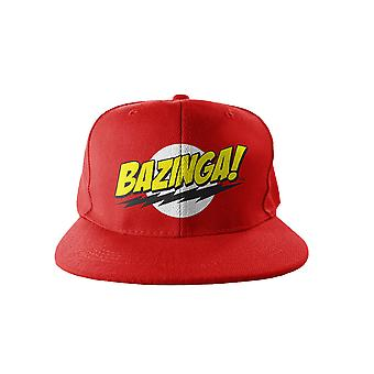The Big Bang Theory Baseball Cap Snapback Bazinga Logo Embroidered Official Red