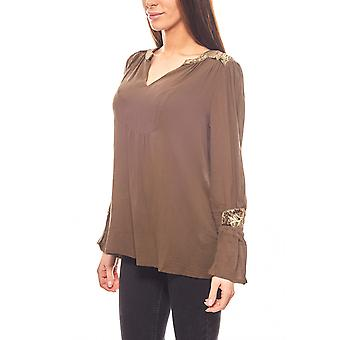 Aniston loose ladies olive blouse with embroidery