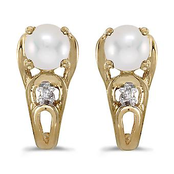 10k Yellow Gold Freshwater Cultured Pearl And Diamond Earrings