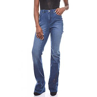 ARIZONA women's Bootcut jeans with embroidery short size blue