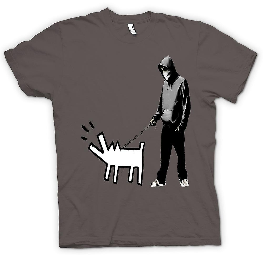 Mens T-shirt - Banksy Dog Walking