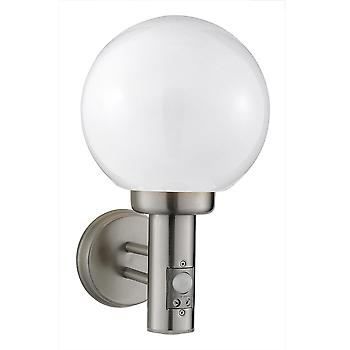 085 Globe Outside Wall Light Stainless Steel With Motion Sensor