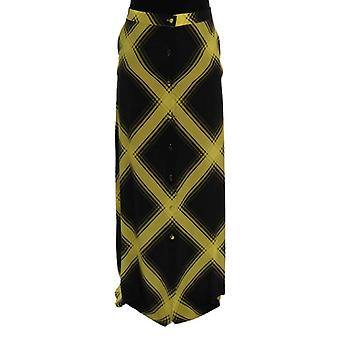 House Of Holland Yellow Black Silk Long Straight Skirt -- SIG5436528