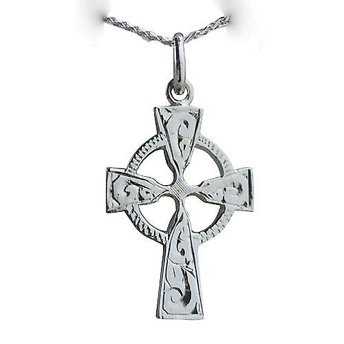 9ct White Gold 23x16mm hand engraved Celtic Cross with a spiga Chain 16 inches Only Suitable for Children
