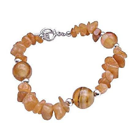 Carenilan Jewelry Carelian Nuggets & Bread w/ Toggle Clasp Bracelet