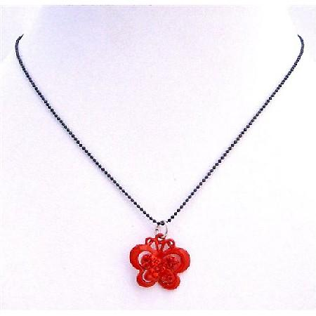 Sparkling Red Butterfly Black Beaded Choker Butterfly Pendant Necklace