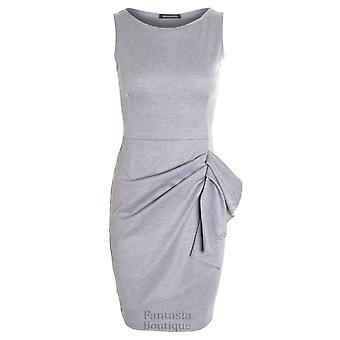 Damer rynkad ärmlös sidan samlades Bow Stretch kvinnors Plain Dress