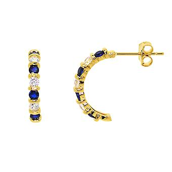 Ah! Jewellery Women's Half Moon Hoop Earrings Set Sapphire & Crystals From Swarovski