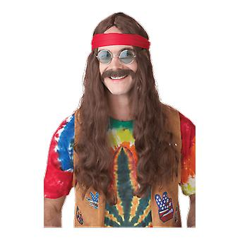 Mens Brown Hippie Wig & Moustache Set 70s Hippy Fancy Dress Costume Accessory