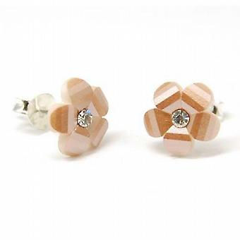 The Olivia Collection Sterling Silver Bronze Crystal Flower Stud Earrings