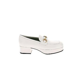 Gucci White Leather Loafers