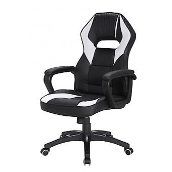 Rebecca Furniture Chair game Office armchair Black White leatherette comfortable Nylon