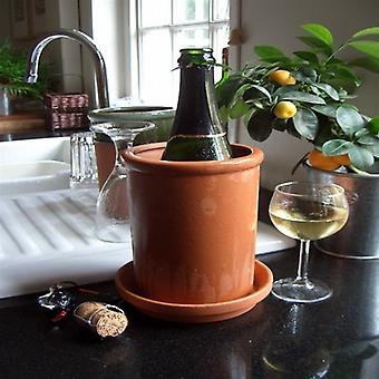 Terracotta Round Wine Cooler & Saucer