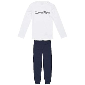 Calvin Klein Boys Knit PJ Set, White / Blue Shadow, Age 12-14