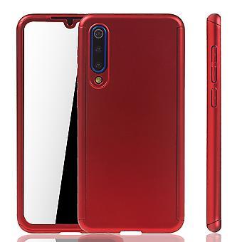 Xiaomi Mi 9 SE Cas de téléphone De protection Cas Full Cover Tank Protection Glass Rouge