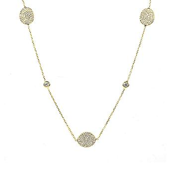 Latelita 925 Sterling Silver Gold Long Necklace Oval Disc Cubic Zirconia 90cm